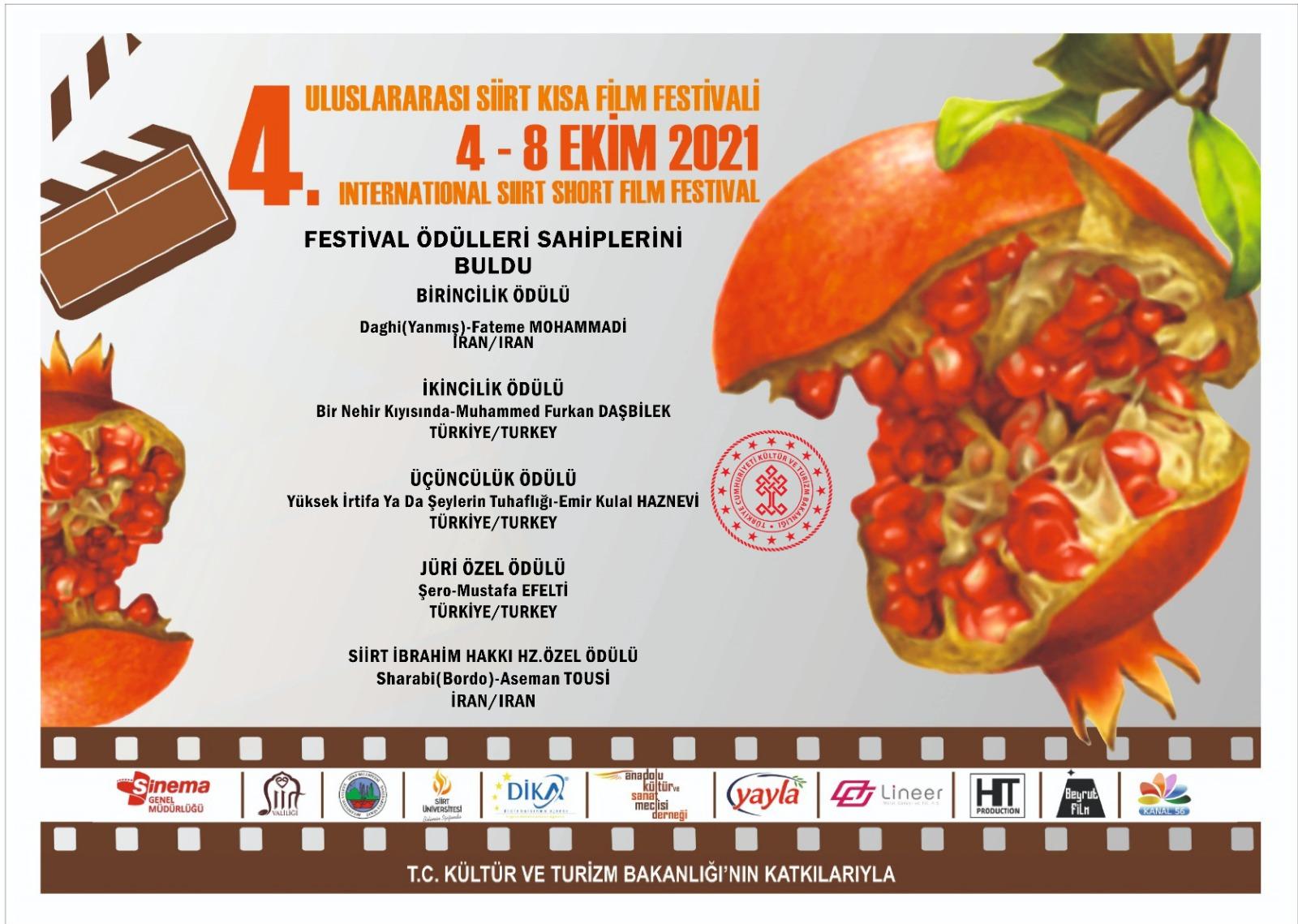 4. Siirt Uluslararası Kısa Film Festivali Ödül alan filmler