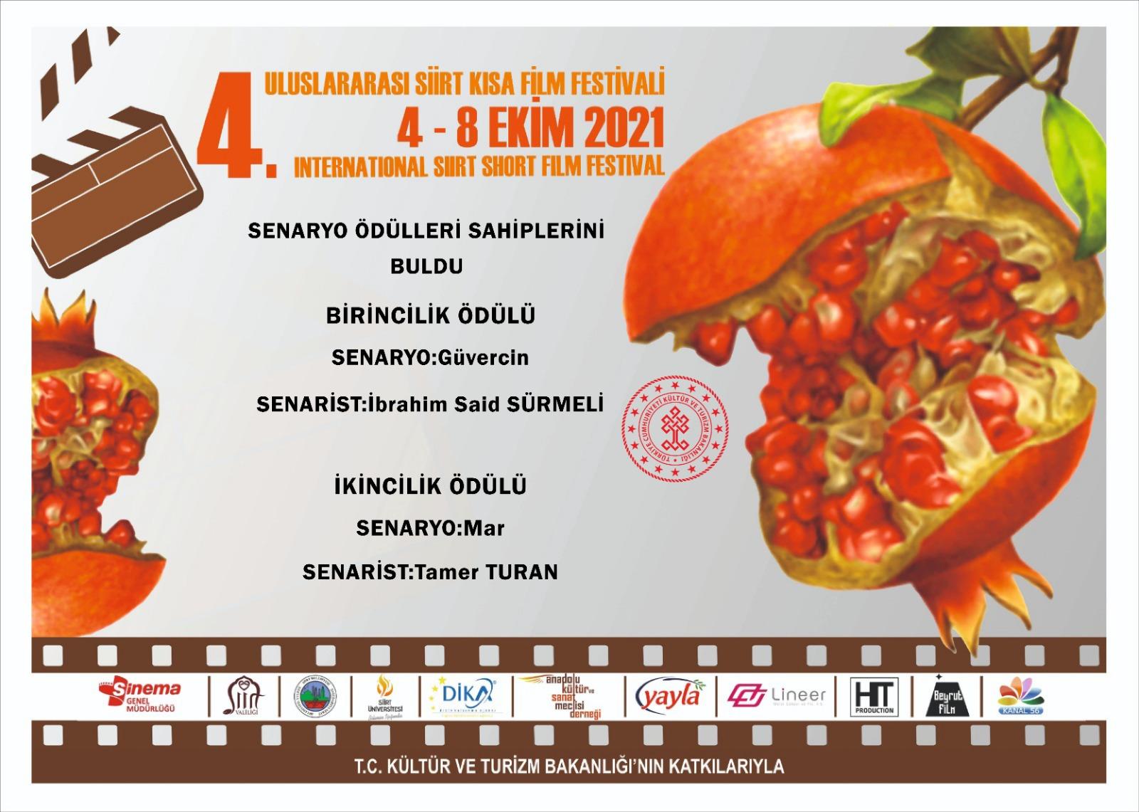 4. Siirt Uluslararası Kısa Film Festivali Senaryo Ödülleri
